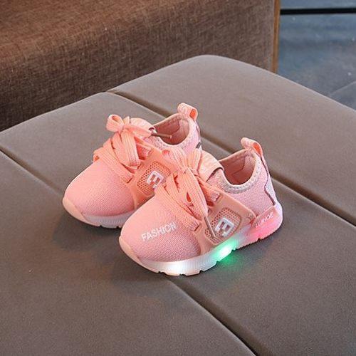 JSK333-pink Sepatu Anak Sport Import Kekinian (LED)