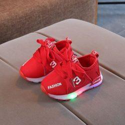 JSK333-red Sepatu Anak Sport Import Kekinian (LED)