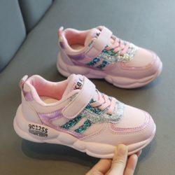 JSK519-pink Sepatu Sneakers Anak Cewek Cantik Import