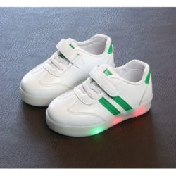 JSK527-green Sepatu Sneaker Anak LED Lucu Import Terbaru