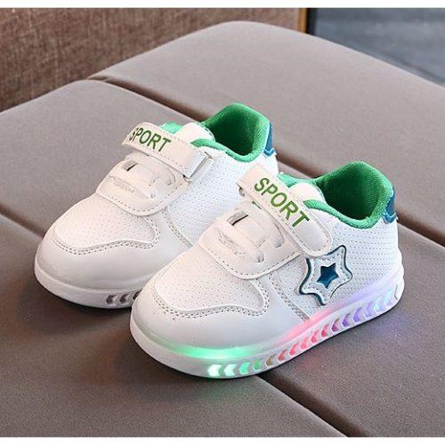 JSK555-green Sepatu Anak Star Sport Import (LED)