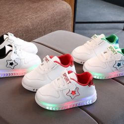 JSK555-red Sepatu Anak Star Sport Import (LED)