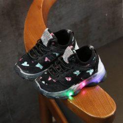 JSK618-black Sepatu Sneakers Anak Lampu LED Import