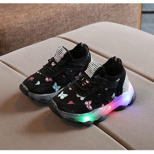 JSK618-black Sepatu Sport Butterfly Imut Import (LED)