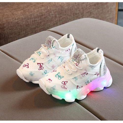 JSK618-white Sepatu Sport Butterfly Imut Import (LED)