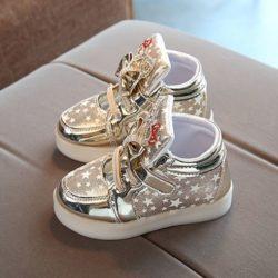 JSK888-gold Sepatu Sneakers Anak Cantik Import