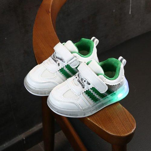 JSKA03-green Sepatu Sneakers Anak Keren Lampu LED