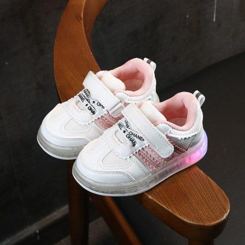 JSKA03-pink Sepatu Sneakers Anak Keren Lampu LED