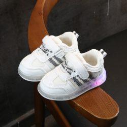 JSKA03-silver Sepatu Sneakers Anak Keren Lampu LED