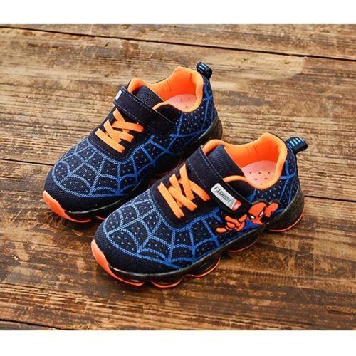 JSKA18A-blue Sepatu Sneakers Anak Motif Spiderman Keren