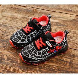 JSKA18A-black Sepatu Sneakers Anak Motif Spiderman Keren