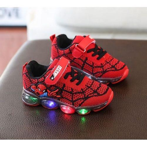 JSKA18A-red Sepatu Sneakers Anak Motif Spiderman Keren