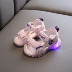 JSKA5-pink Sandal Gunung Anak Import Lampu LED