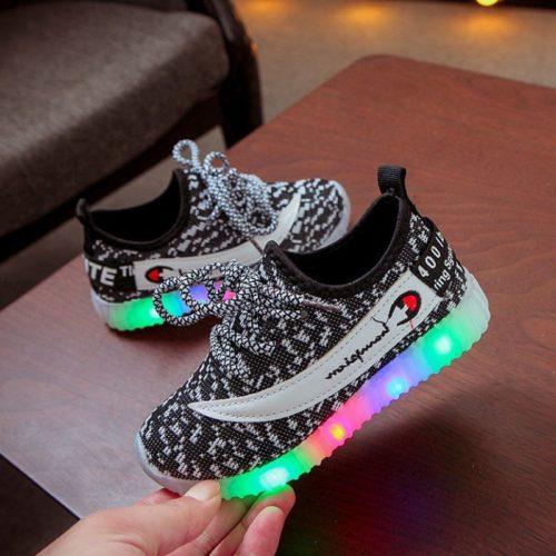 JSKB603-black Sepatu Sneakers Anak Lampu LED Import