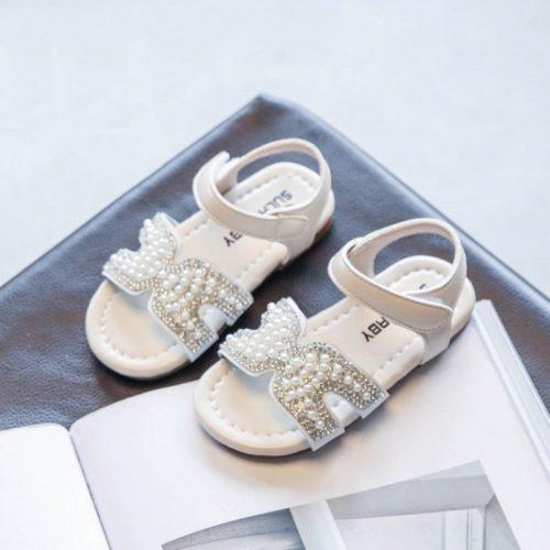 JSKH05-white Sandal Pesta Anak Import Cantik Terbaru
