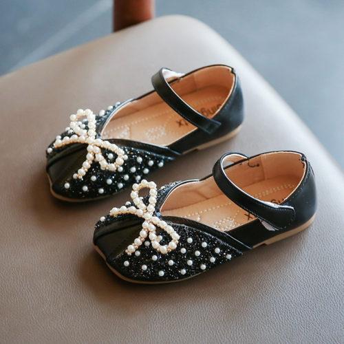 JSKK01-black Sepatu Sandal Pesta Anak Cewek Cantik Terbaru