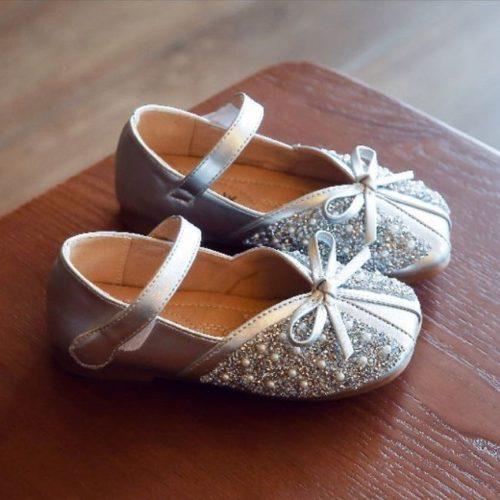 JSKK01-silver Sepatu Sandal Pesta Anak Cewek Cantik Terbaru