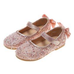 JSKQ23-pink Sepatu Pesta Anak Perempuan Cantik Import