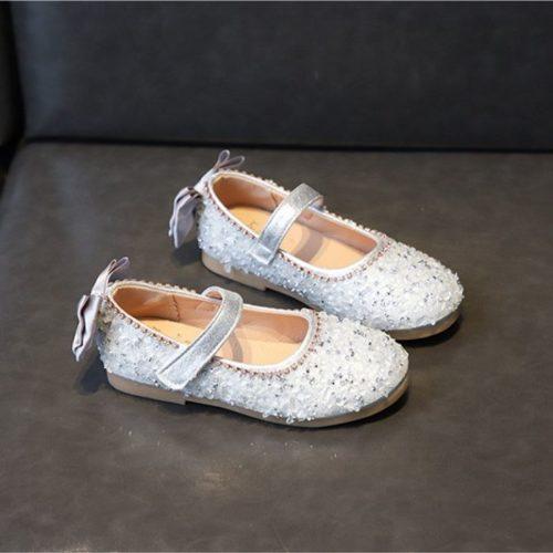 JSKQ23-silver Sepatu Pesta Anak Perempuan Cantik Import
