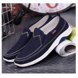 JSS1603-darkblue Sepatu Slip On Pria Casual Terbaru