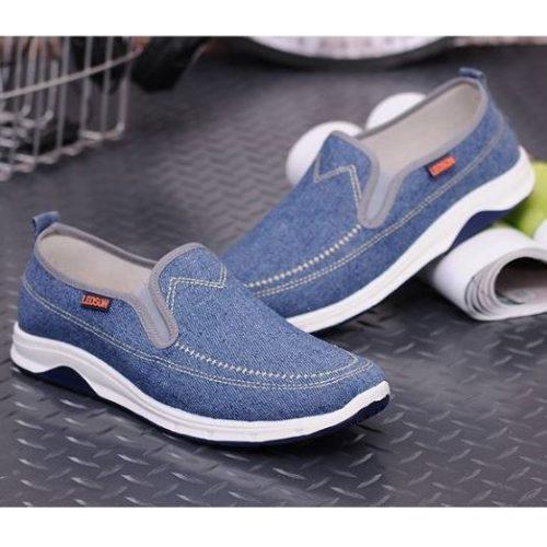 JSS1603-lightblue Sepatu Slip On Pria Casual Terbaru