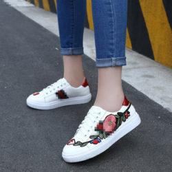 JSS1705-red Sepatu Sneakers Motif Bunga Wanita Cantik