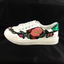 JSS1705-green Sepatu Sneakers Motif Bunga Wanita Cantik