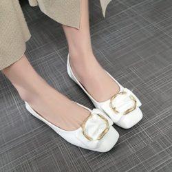 JSS187-white Flat Shoes Wanita Cantik Import