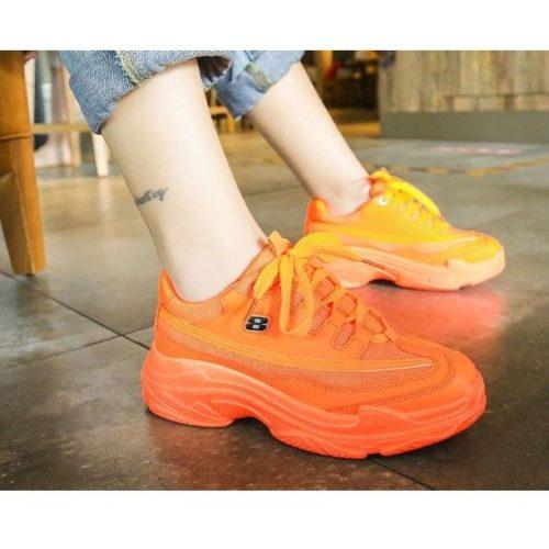JSS1919-orange Sepatu Sneakers Sport Wanita Cantik Import