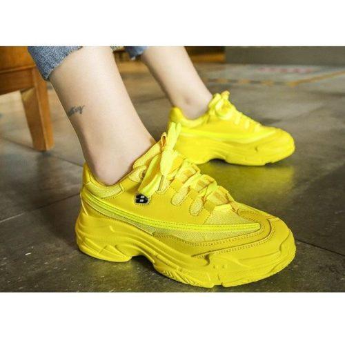 JSS1919-yellow Sepatu Sneakers Sport Wanita Cantik Import (Noda)