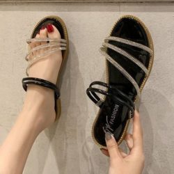 JSS2013-black Flat Shoes Tali Wanita Cantik Import