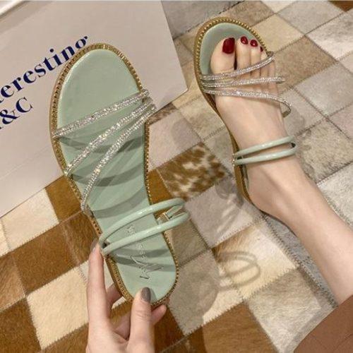 JSS2013-green Flat Shoes Tali Wanita Cantik Import