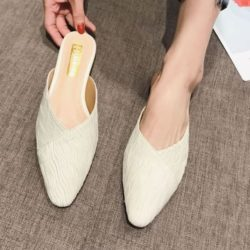 JSS2352-beige Sandal Slip On Wanita Cantik Import Elegan