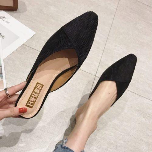 JSS2352-black Sandal Slip On Wanita Cantik Import Elegan