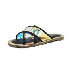 JSS25992-black Sandal Flat Fashion Wanita Cantik Import