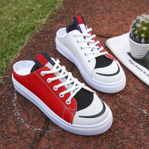 JSS337-red Sepatu Sneakers Slip On Wanita Cantik Import