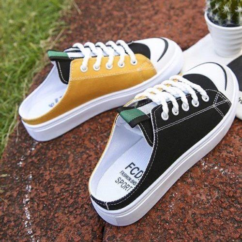 JSS337-yellow Sepatu Sneakers Slip On Wanita Cantik Import