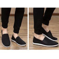 JSS55-black Sepatu Slip On Pria Fashion Modis Import