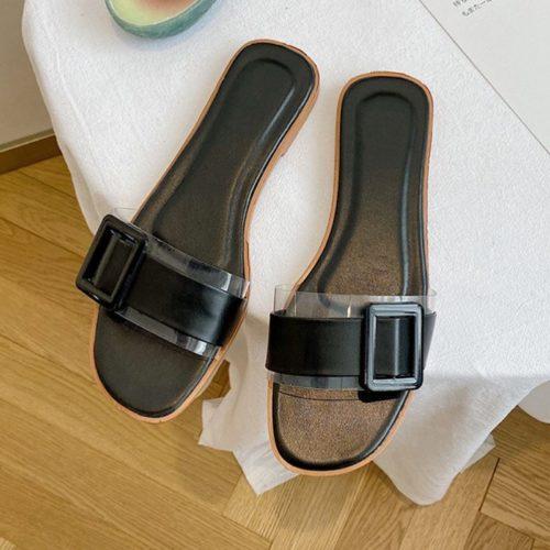 JSS5555-black Sandal Flat Casual Wanita Cantik Import