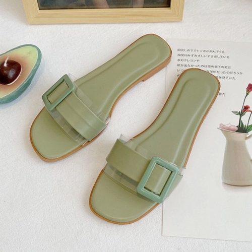 JSS5555-green Sandal Flat Casual Wanita Cantik Import