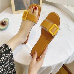 JSS5555-yellow Sandal Flat Casual Wanita Cantik Import