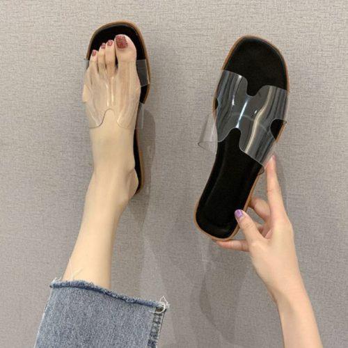 JSS5555B-black Sandal Flat Casual Wanita Cantik Import Transparan