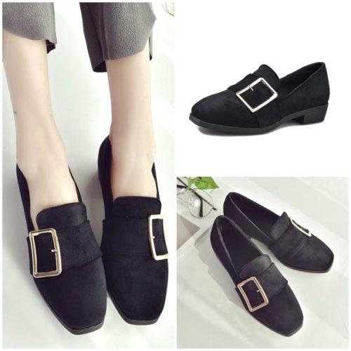 JSS668-black Sepatu Slip On Suede Wanita Cantik Import
