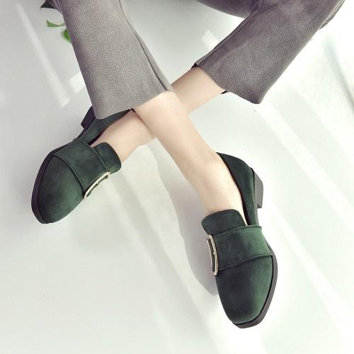 JSS668-green Sepatu Slip On Suede Wanita Cantik Import