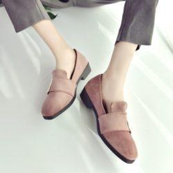 JSS668-pink Sepatu Slip On Suede Wanita Cantik Import