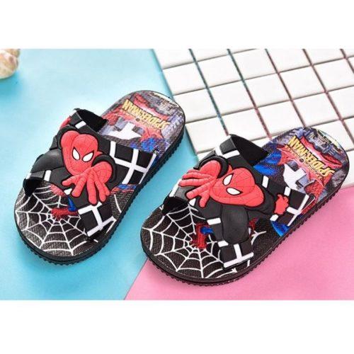JSS671-black Sandal Flip Flop Anak Motif Spiderman
