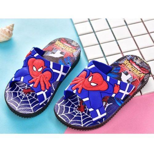 JSS671-blue Sandal Flip Flop Anak Motif Spiderman