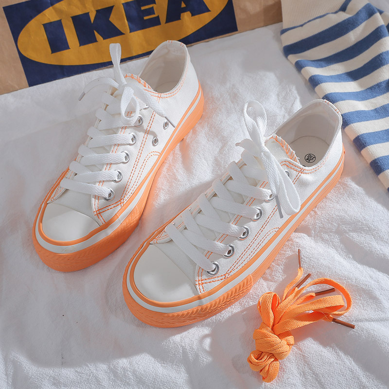 JSS71042-orange Sepatu Sneakers Flat Fashion Import Wanita