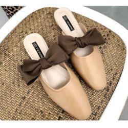 JSS8090-khaki Sandal Slip On Wanita Cantik Import