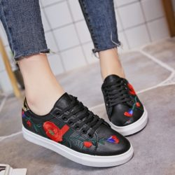 JSS918-black Sepatu Sneakers Motif Bunga Wanita Cantik